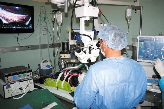 Realización de una cirugía intraocular en quirófano